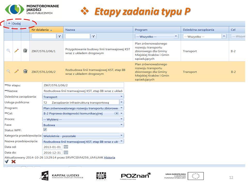  Etapy zadania typu P 12