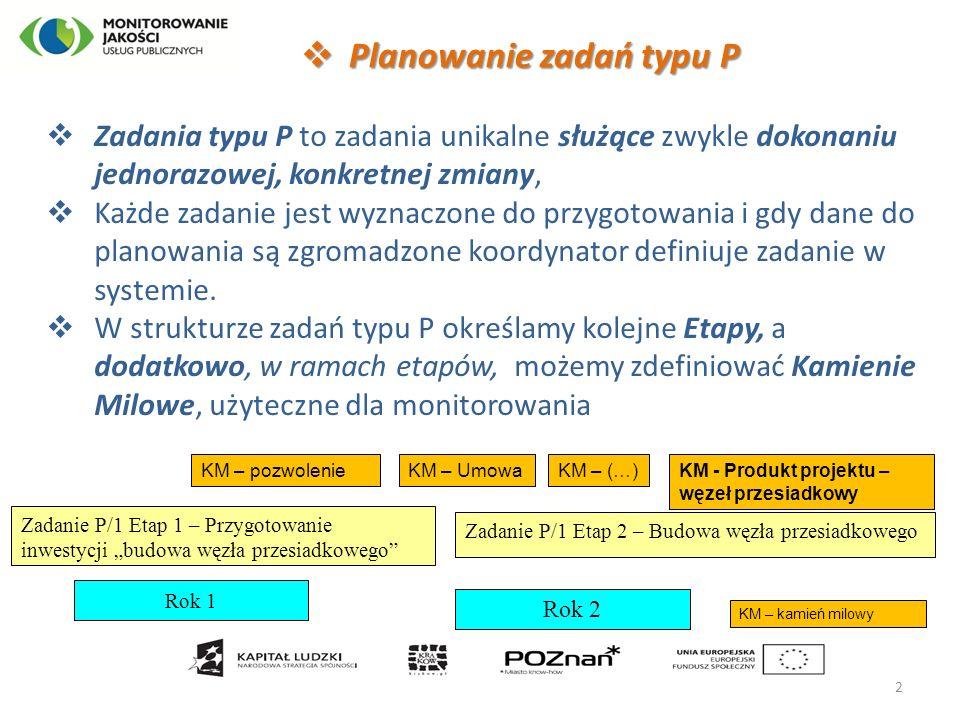  Planowanie zadań typu P  Zadania typu P to zadania unikalne służące zwykle dokonaniu jednorazowej, konkretnej zmiany,  Każde zadanie jest wyznaczo