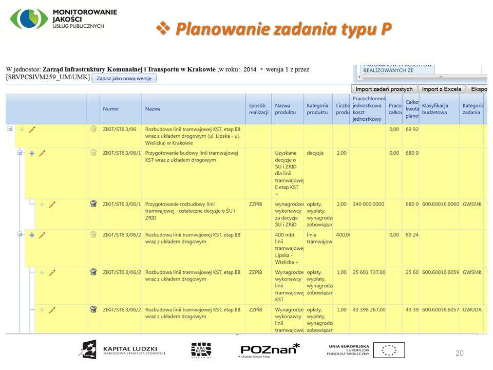20  Planowanie zadania typu P