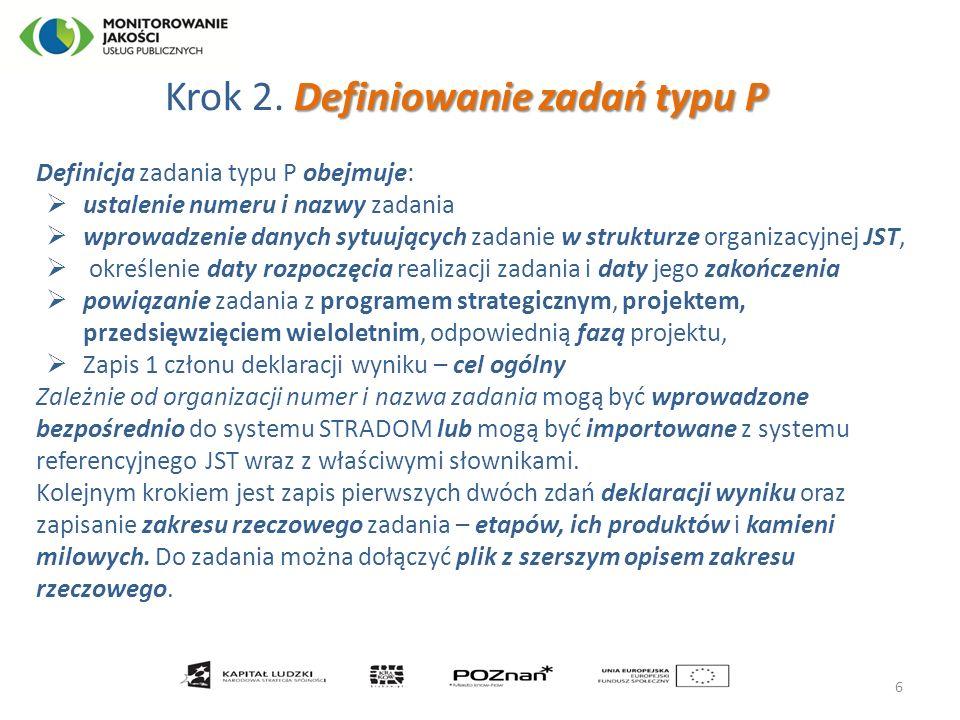  Definiowanie zadania typu P 7