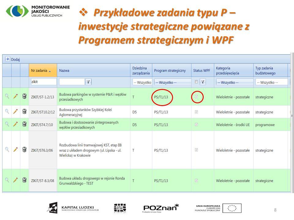  Przykładowe zadania typu P – inwestycje strategiczne powiązane z Programem strategicznym i WPF 8