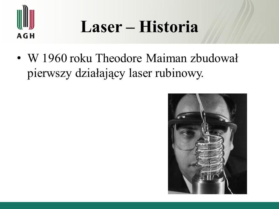 Laser – Historia W 1960 roku Theodore Maiman zbudował pierwszy działający laser rubinowy.