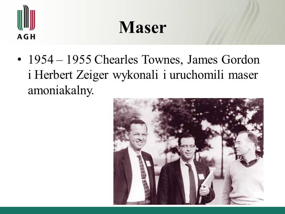 Maser 1954 – 1955 Chearles Townes, James Gordon i Herbert Zeiger wykonali i uruchomili maser amoniakalny.