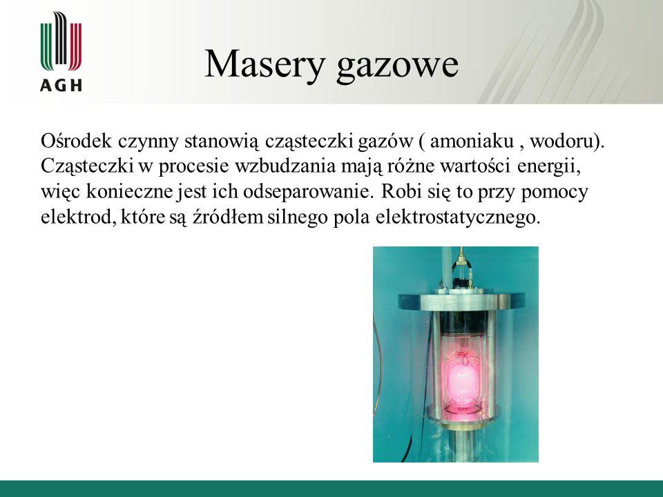 Masery gazowe Ośrodek czynny stanowią cząsteczki gazów ( amoniaku, wodoru).