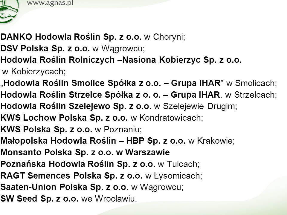  DANKO Hodowla Roślin Sp. z o.o. w Choryni;  DSV Polska Sp.