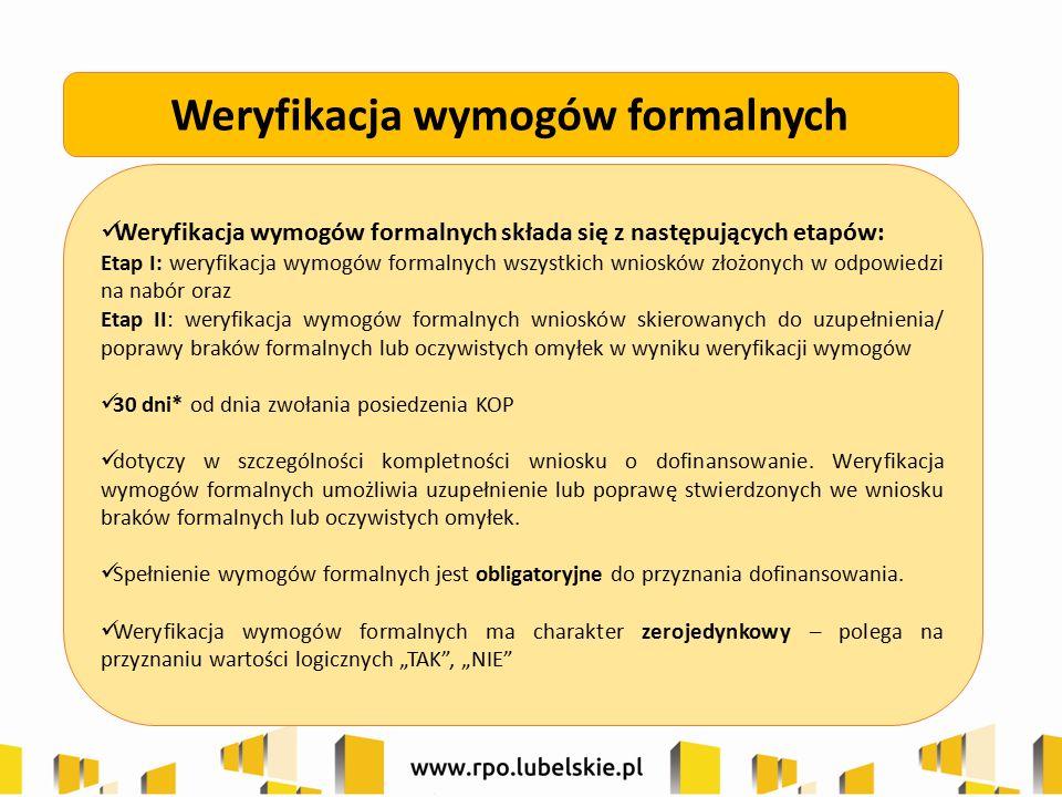 Weryfikacja wymogów formalnych składa się z następujących etapów: Etap I: weryfikacja wymogów formalnych wszystkich wniosków złożonych w odpowiedzi na
