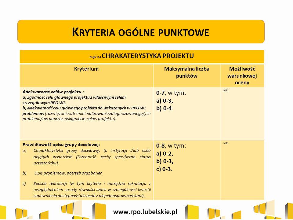 K RYTERIA OGÓLNE PUNKTOWE Część B.I CHRAKATERYSTYKA PROJEKTU KryteriumMaksymalna liczba punktów Możliwość warunkowej oceny Adekwatność celów projektu
