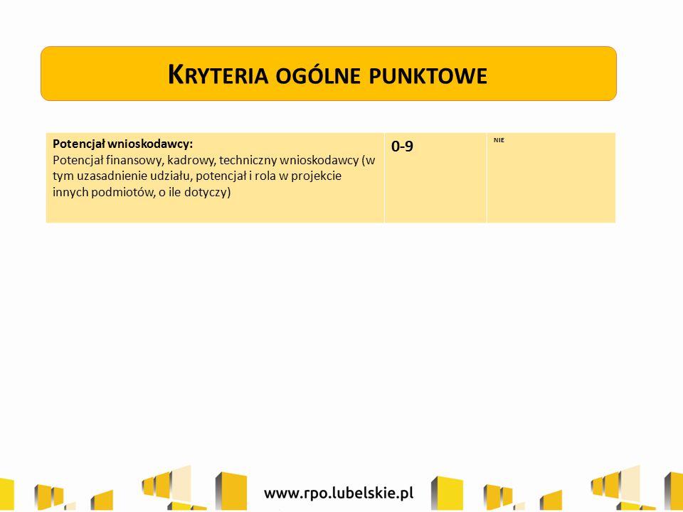 K RYTERIA OGÓLNE PUNKTOWE Potencjał wnioskodawcy: Potencjał finansowy, kadrowy, techniczny wnioskodawcy (w tym uzasadnienie udziału, potencjał i rola