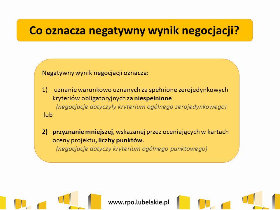 Co oznacza negatywny wynik negocjacji? Negatywny wynik negocjacji oznacza: 1) uznanie warunkowo uznanych za spełnione zerojedynkowych kryteriów obliga