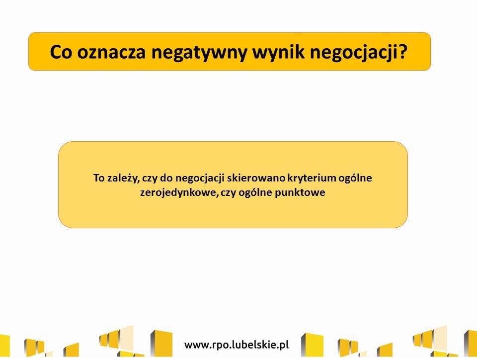 Co oznacza negatywny wynik negocjacji? To zależy, czy do negocjacji skierowano kryterium ogólne zerojedynkowe, czy ogólne punktowe