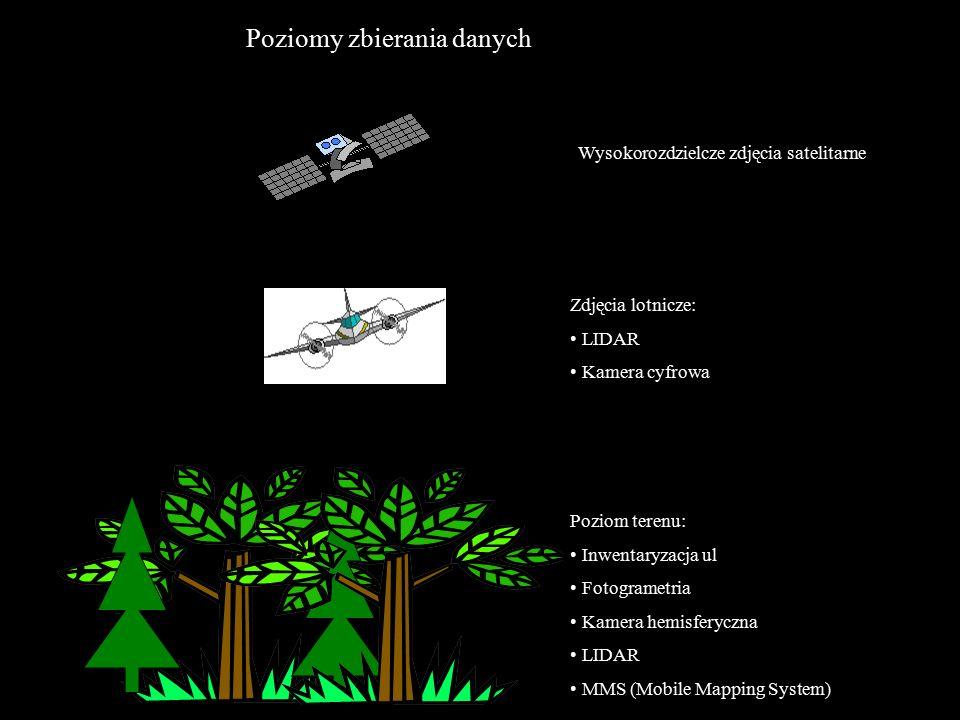 Poziomy zbierania danych Wysokorozdzielcze zdjęcia satelitarne Zdjęcia lotnicze: LIDAR Kamera cyfrowa Poziom terenu: Inwentaryzacja ul Fotogrametria Kamera hemisferyczna LIDAR MMS (Mobile Mapping System)