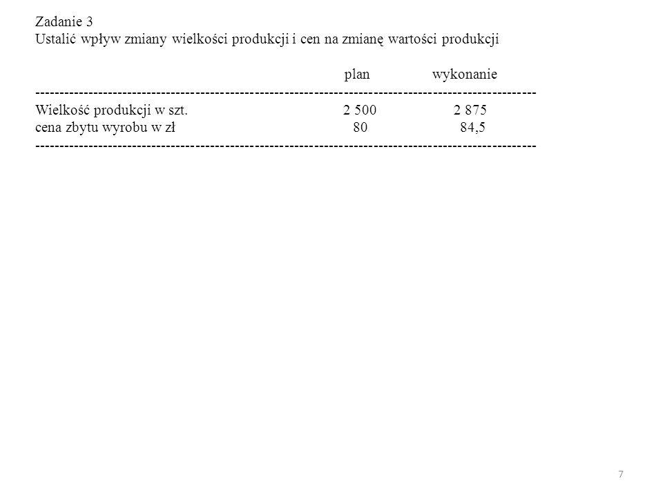 7 Zadanie 3 Ustalić wpływ zmiany wielkości produkcji i cen na zmianę wartości produkcji plan wykonanie -----------------------------------------------