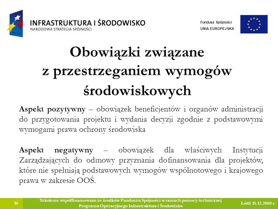 Obowiązki związane z przestrzeganiem wymogów środowiskowych 10 Szkolenie współfinansowane ze środków Funduszu Spójności w ramach pomocy technicznej Programu Operacyjnego Infrastruktura i Środowisko Łódź 15.12.2008 r.
