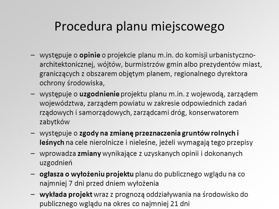 Procedura planu miejscowego –występuje o opinie o projekcie planu m.in.