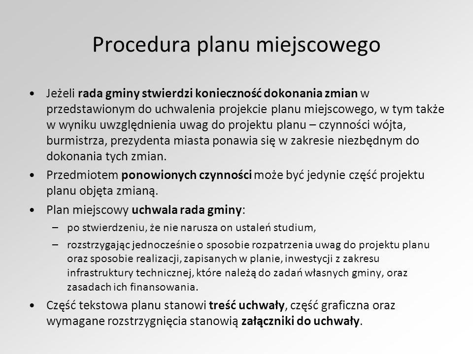Procedura planu miejscowego Jeżeli rada gminy stwierdzi konieczność dokonania zmian w przedstawionym do uchwalenia projekcie planu miejscowego, w tym także w wyniku uwzględnienia uwag do projektu planu – czynności wójta, burmistrza, prezydenta miasta ponawia się w zakresie niezbędnym do dokonania tych zmian.