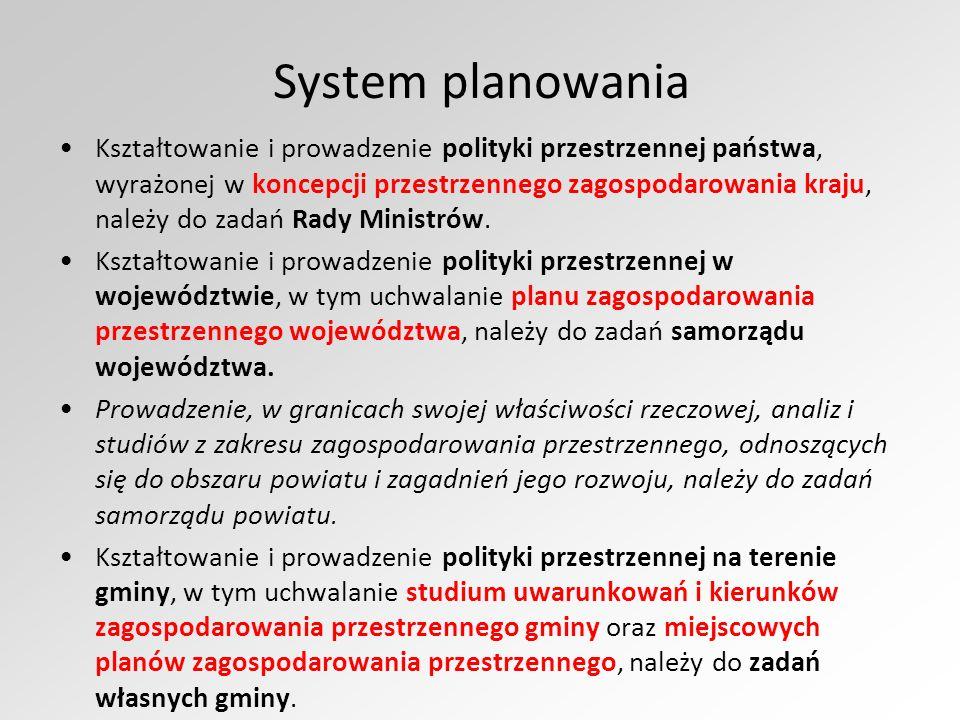 System planowania Kształtowanie i prowadzenie polityki przestrzennej państwa, wyrażonej w koncepcji przestrzennego zagospodarowania kraju, należy do zadań Rady Ministrów.