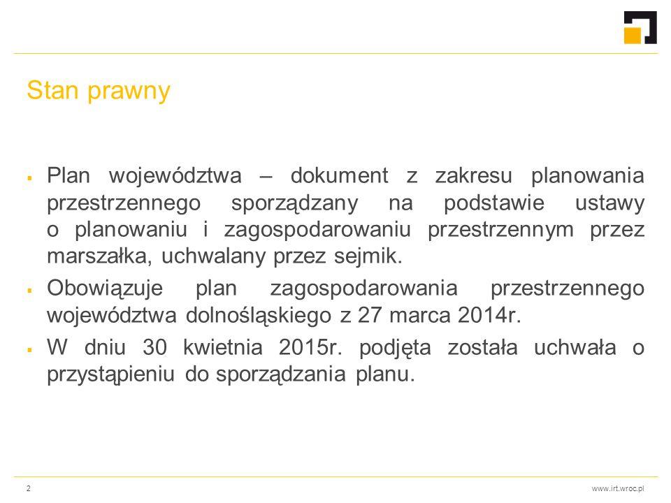www.irt.wroc.pl Stan prawny  Plan województwa – dokument z zakresu planowania przestrzennego sporządzany na podstawie ustawy o planowaniu i zagospoda