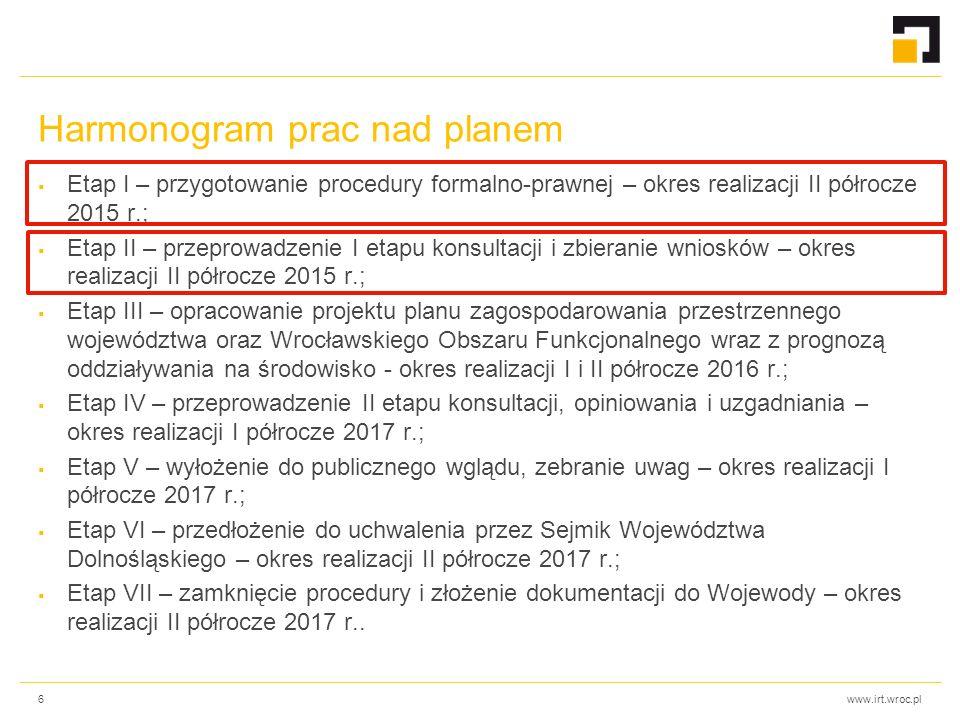 www.irt.wroc.pl Harmonogram prac nad planem  Etap I – przygotowanie procedury formalno-prawnej – okres realizacji II półrocze 2015 r.;  Etap II – pr