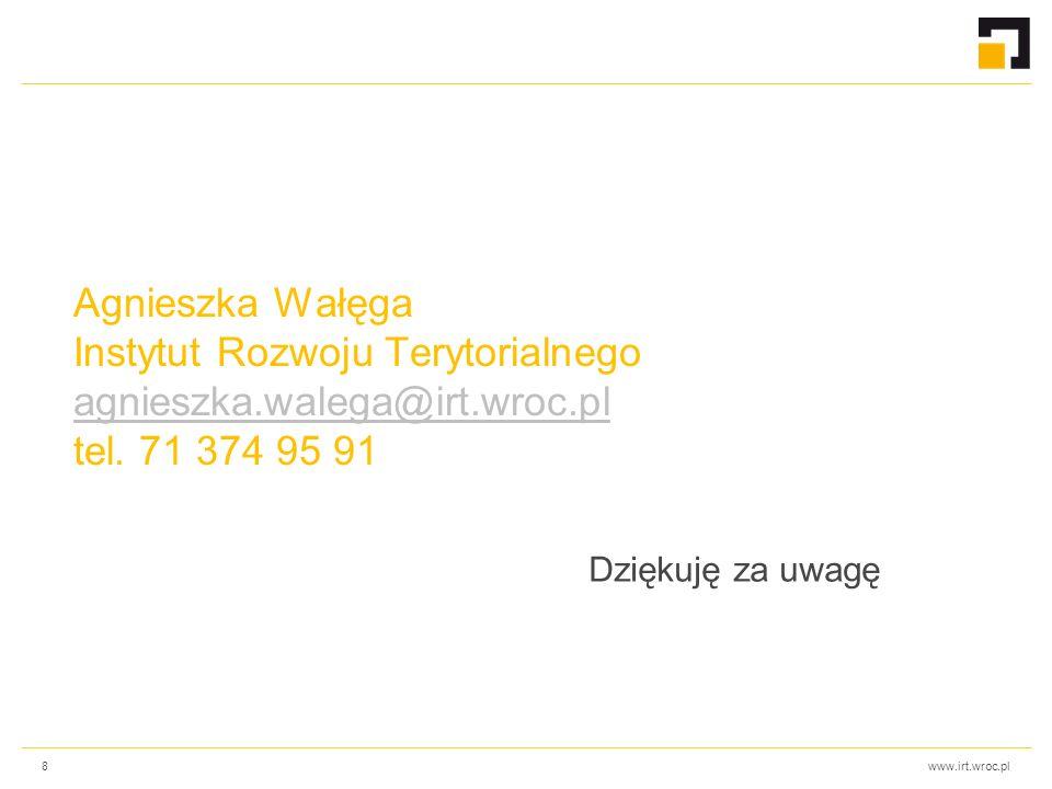 www.irt.wroc.pl Agnieszka Wałęga Instytut Rozwoju Terytorialnego agnieszka.walega@irt.wroc.pl tel. 71 374 95 91 agnieszka.walega@irt.wroc.pl Dziękuję