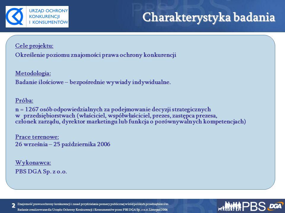 2 Znajomość prawa ochrony konkurencji i zasad przydzielania pomocy publicznej wśród polskich przedsiębiorców. Badanie zrealizowane dla Urzędu Ochrony