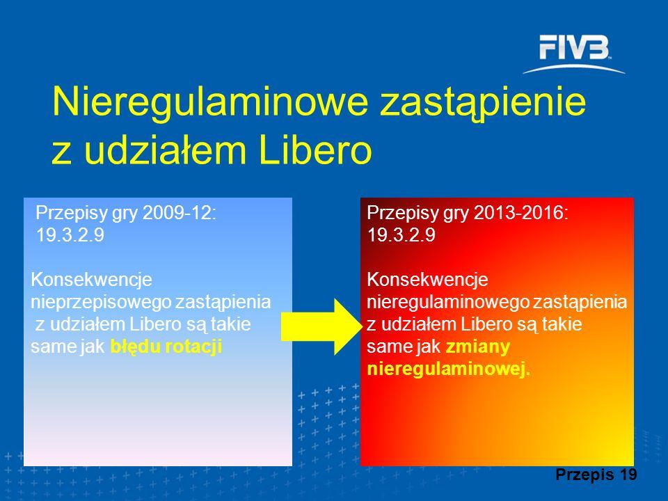 Przepisy gry 2009-12: 19.3.2.9 Konsekwencje nieprzepisowego zastąpienia z udziałem Libero są takie same jak błędu rotacji Nieregulaminowe zastąpienie z udziałem Libero Przepis 19 Przepisy gry 2013-2016: 19.3.2.9 Konsekwencje nieregulaminowego zastąpienia z udziałem Libero są takie same jak zmiany nieregulaminowej.