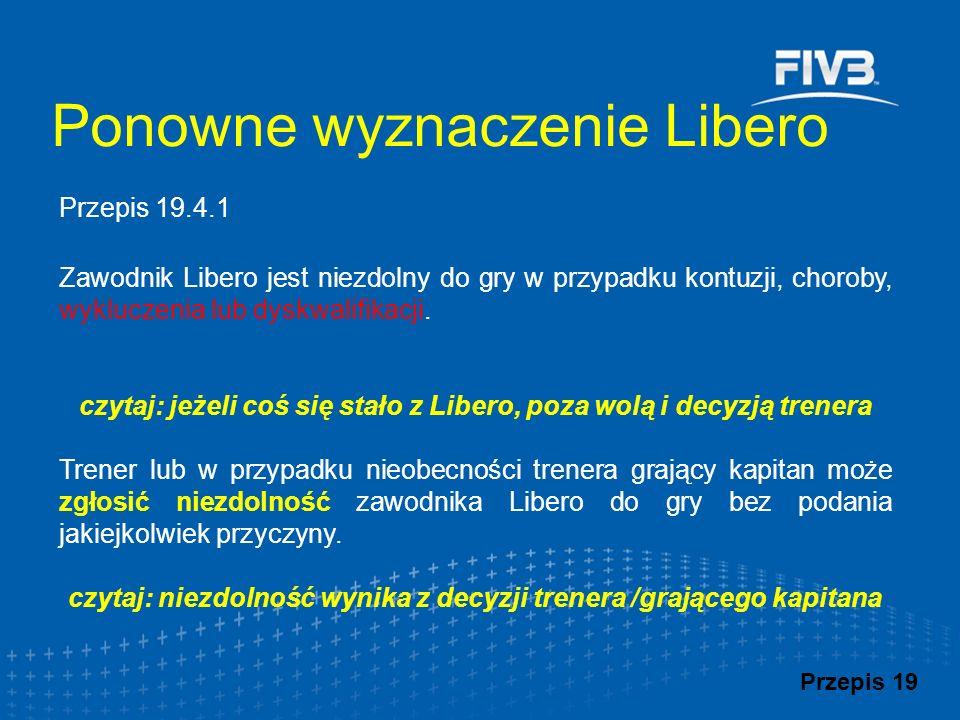 Zawodnik Libero jest niezdolny do gry w przypadku kontuzji, choroby, wykluczenia lub dyskwalifikacji.