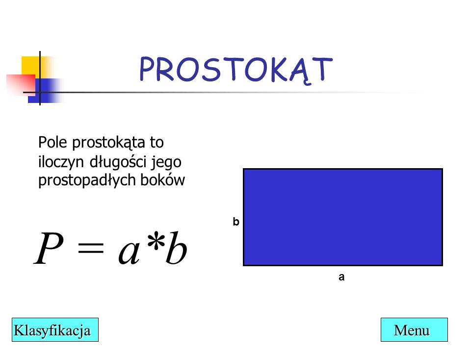 PROSTOKĄT a b Pole prostokąta to iloczyn długości jego prostopadłych boków P = a*b Menu Klasyfikacja