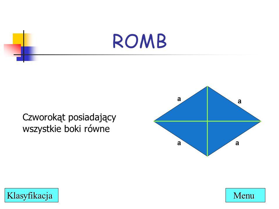ROMB Czworokąt posiadający wszystkie boki równe a a a αα a Menu Klasyfikacja