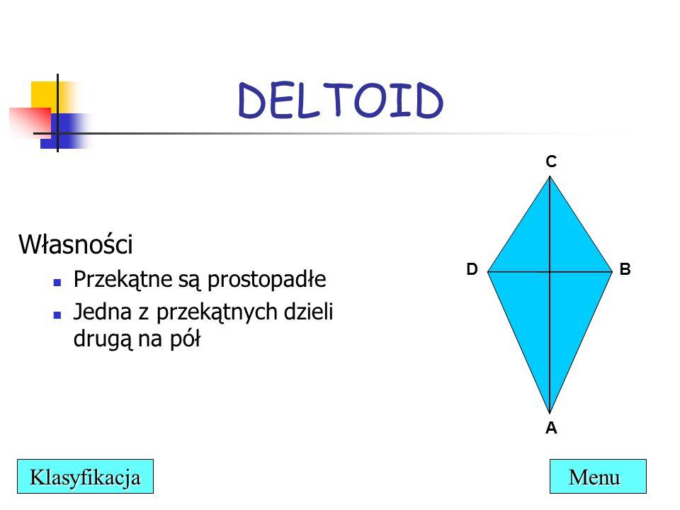 Własności Przekątne są prostopadłe Jedna z przekątnych dzieli drugą na pół DELTOID C DB A Menu Klasyfikacja