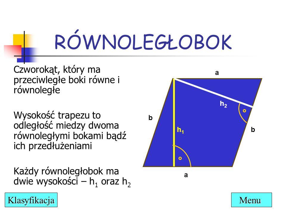 Własności: Przeciwległe boki są równe i równoległe Przeciwległe kąty są równe Suma kątów leżących przy jednym boku wynosi 180° Przekątne dzielą się na połowy RÓWNOLEGŁOBOK α α β β D BC A S Menu Klasyfikacja