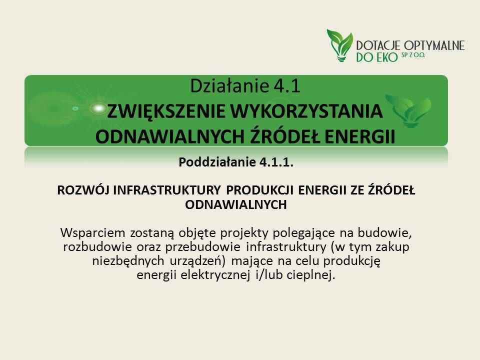 Działanie 4.1 ZWIĘKSZENIE WYKORZYSTANIA ODNAWIALNYCH ŹRÓDEŁ ENERGII Poddziałanie 4.1.1. ROZWÓJ INFRASTRUKTURY PRODUKCJI ENERGII ZE ŹRÓDEŁ ODNAWIALNYCH