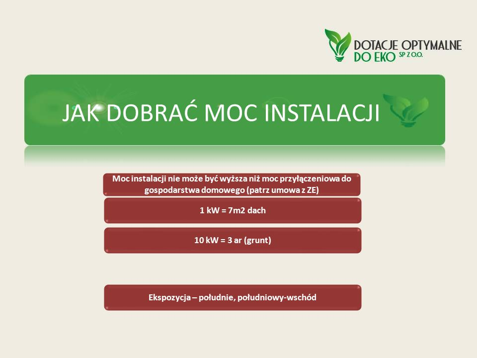 JAK DOBRAĆ MOC INSTALACJI Moc instalacji nie może być wyższa niż moc przyłączeniowa do gospodarstwa domowego (patrz umowa z ZE) 1 kW = 7m2 dach 10 kW