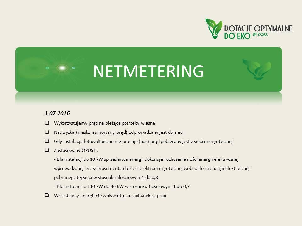 NETMETERING 1.07.2016  Wykorzystujemy prąd na bieżące potrzeby własne  Nadwyżka (nieskonsumowany prąd) odprowadzany jest do sieci  Gdy instalacja f