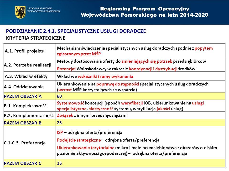Regionalny Program Operacyjny Województwa Pomorskiego na lata 2014-2020 PODDZIAŁANIE 2.4.1.