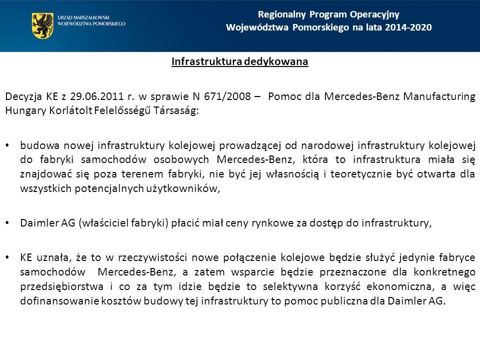 Regionalny Program Operacyjny Województwa Pomorskiego na lata 2014-2020 Infrastruktura dedykowana Decyzja KE z 29.06.2011 r.