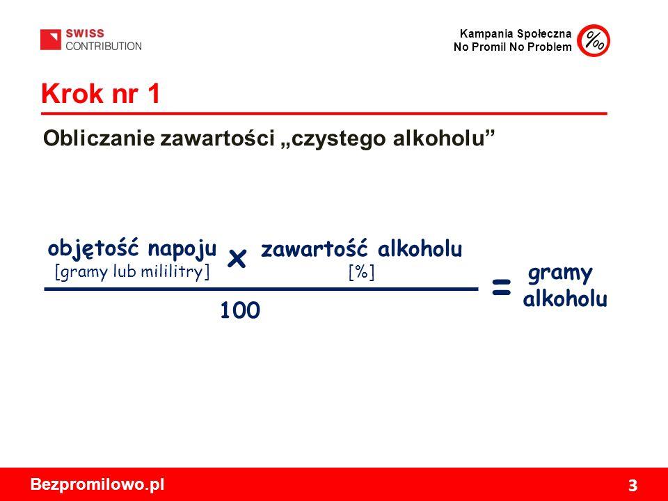 """Kampania Społeczna No Promil No Problem Bezpromilowo.pl 3 Krok nr 1 Obliczanie zawartości """"czystego alkoholu objętość napoju [gramy lub mililitry] zawartość alkoholu [%] 100 gramy alkoholu x ="""