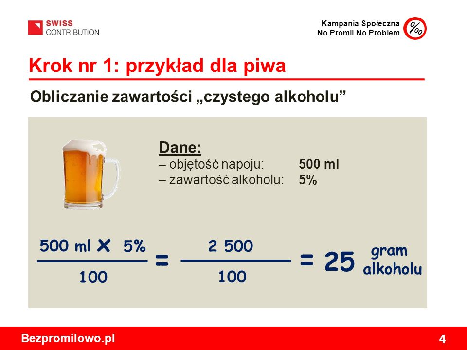 """Kampania Społeczna No Promil No Problem Bezpromilowo.pl 4 Krok nr 1: przykład dla piwa Obliczanie zawartości """"czystego alkoholu Dane: – objętość napoju: 500 ml – zawartość alkoholu: 5% 500 ml 5% 100 gram alkoholu x = 100 2 500 = 25"""