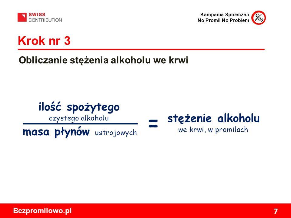 Kampania Społeczna No Promil No Problem Bezpromilowo.pl 7 Krok nr 3 Obliczanie stężenia alkoholu we krwi ilość spożytego czystego alkoholu masa płynów ustrojowych stężenie alkoholu we krwi, w promilach =