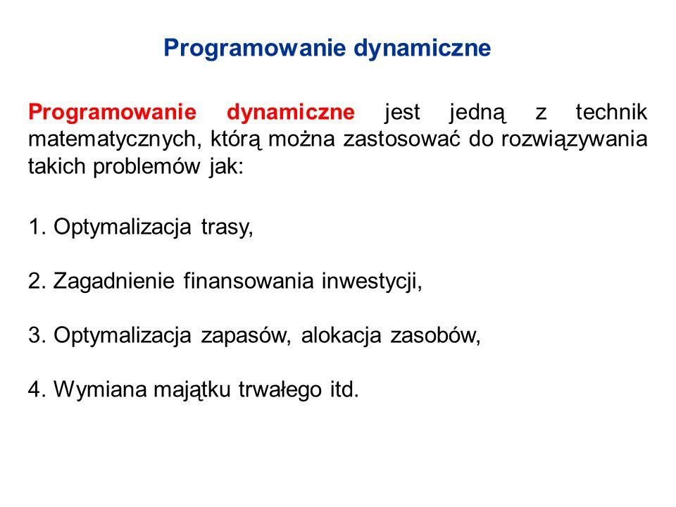 Programowanie dynamiczne Programowanie dynamiczne jest jedną z technik matematycznych, którą można zastosować do rozwiązywania takich problemów jak: 1.