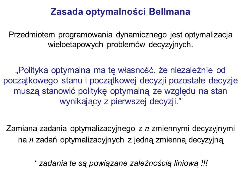 Zasada optymalności Bellmana Przedmiotem programowania dynamicznego jest optymalizacja wieloetapowych problemów decyzyjnych.