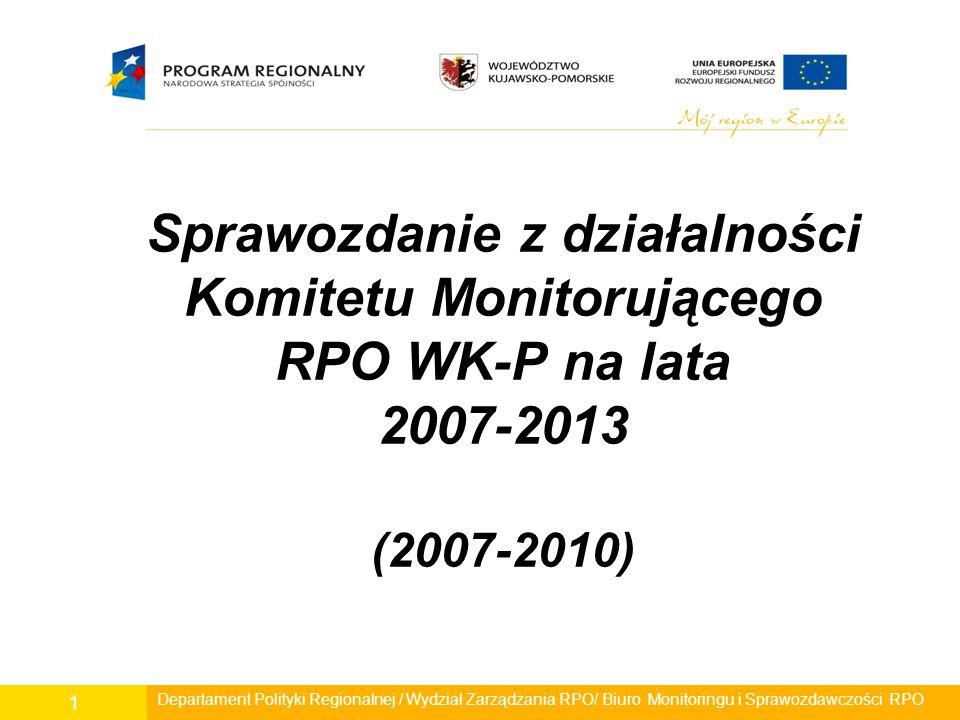 Sprawozdanie z działalności Komitetu Monitorującego RPO WK-P na lata 2007-2013 (2007-2010) Departament Polityki Regionalnej / Wydział Zarządzania RPO/