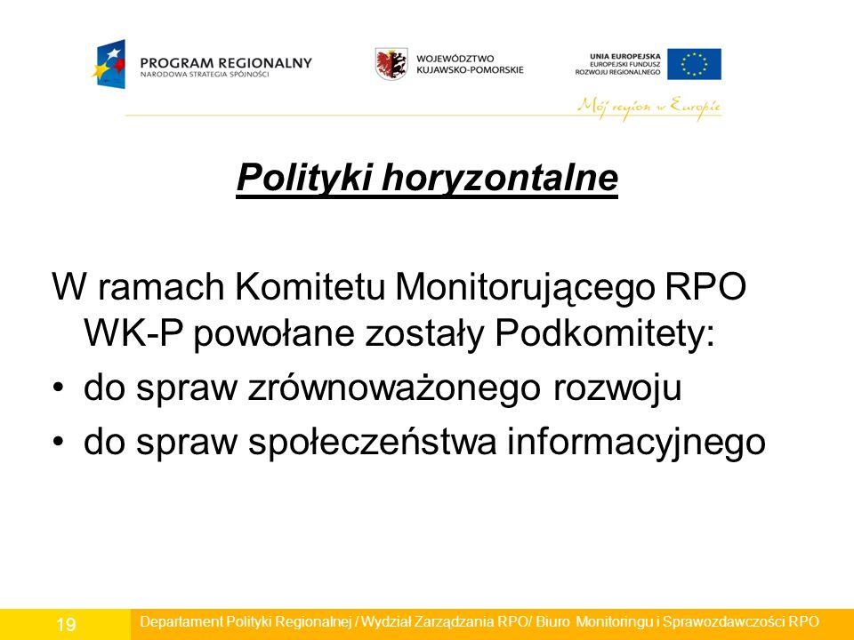 Polityki horyzontalne W ramach Komitetu Monitorującego RPO WK-P powołane zostały Podkomitety: do spraw zrównoważonego rozwoju do spraw społeczeństwa i