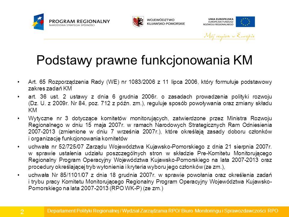 Podkomitet Monitorujący do spraw społeczeństwa informacyjnego Do głównych zadań Podkomitetu należy monitorowanie problemów w rozwoju społeczeństwa informacyjnego na poziomie Regionalnego Programu Operacyjnego Województwa Kujawsko-Pomorskiego na lata 2007-2013 poprzez: monitorowanie realizacji projektów w ramach Regionalnego Programu Operacyjnego Województwa Kujawsko-Pomorskiego na lata 2007-2013 w tym w szczególności: –okresowe badanie postępu w zakresie osiągania szczegółowych celów określonych w Regionalnym Programie Operacyjnym; –dokonywanie analizy rezultatów realizacji RPO; monitoring mapy Obszarów Wykluczenia Cyfrowego w województwie oraz działań zmierzających do ich likwidacji; wnioskowanie o wykonanie ekspertyz i analiz z zakresu rozwoju społeczeństwa informacyjnego w województwie kujawsko-pomorskim; opiniowanie sprawozdań Pełnomocnika Marszałka do spraw społeczeństwa informacyjnego.