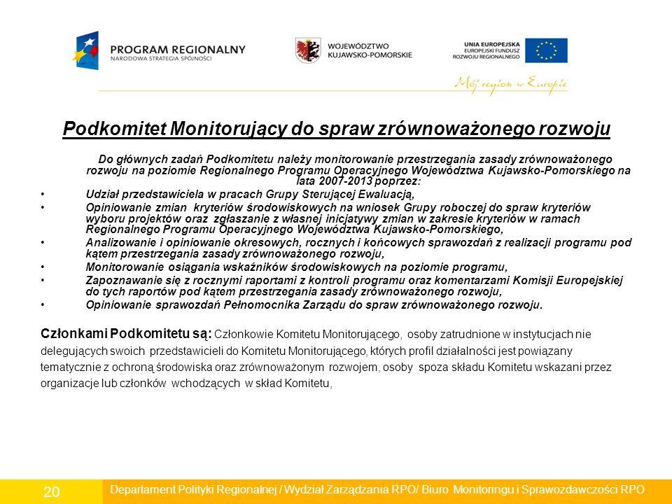 Podkomitet Monitorujący do spraw zrównoważonego rozwoju Do głównych zadań Podkomitetu należy monitorowanie przestrzegania zasady zrównoważonego rozwoj