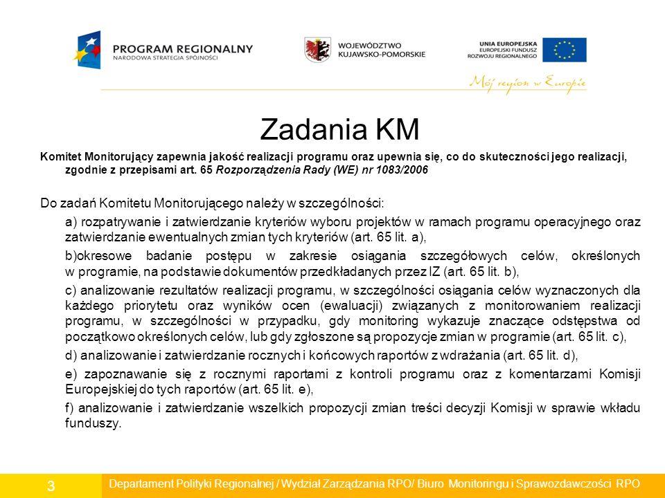 Główne punkty porządków obrad -Zatwierdzanie kryteriów wyboru projektów oraz ich zmiany, -Zatwierdzanie sprawozdań z realizacji RPO WK-P, -Analiza badań ewaluacyjnych, -Sprawozdania z wdrażania i zarządzania RPO.