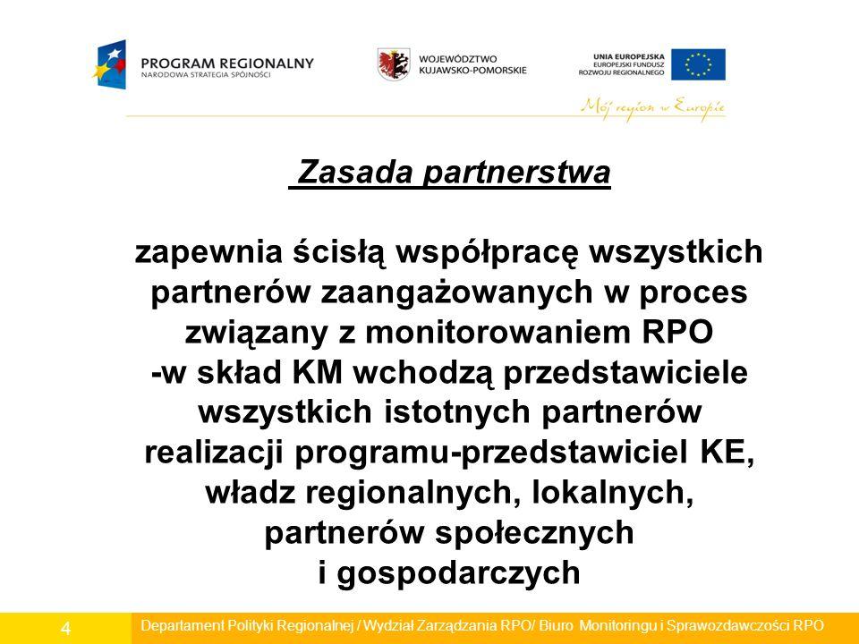 Realizacja zasady partnerstwa w ramach RPO WK-P Strona rządowa - 13 przedstawicieli Strona samorządowa - 15 przedstawicieli Partnerzy społeczni i gospodarczy -organizacje pozarządowe - 5 przedstawicieli -środowisko akademicko-naukowe - 5 przedstawicieli -Wojewódzka Komisja Dialogu Społecznego - 6 przedstawicieli Departament Polityki Regionalnej / Wydział Zarządzania RPO/ Biuro Monitoringu i Sprawozdawczości RPO 5