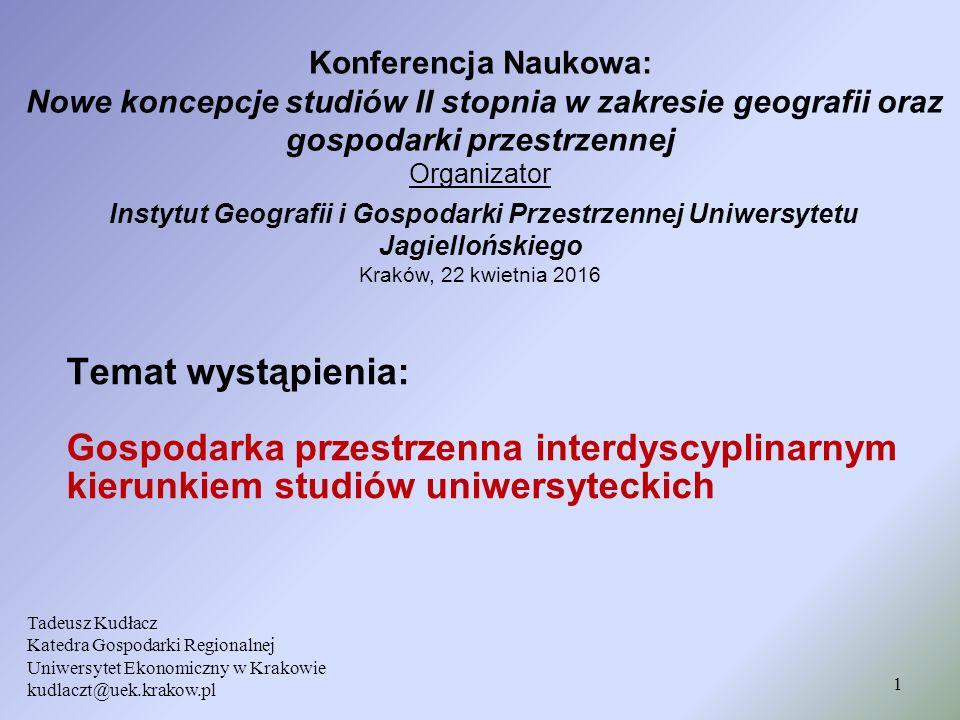 Kierunek studiów gospodarka przestrzenna i jego związek z dziedzinami i dyscyplinami naukowymi 12