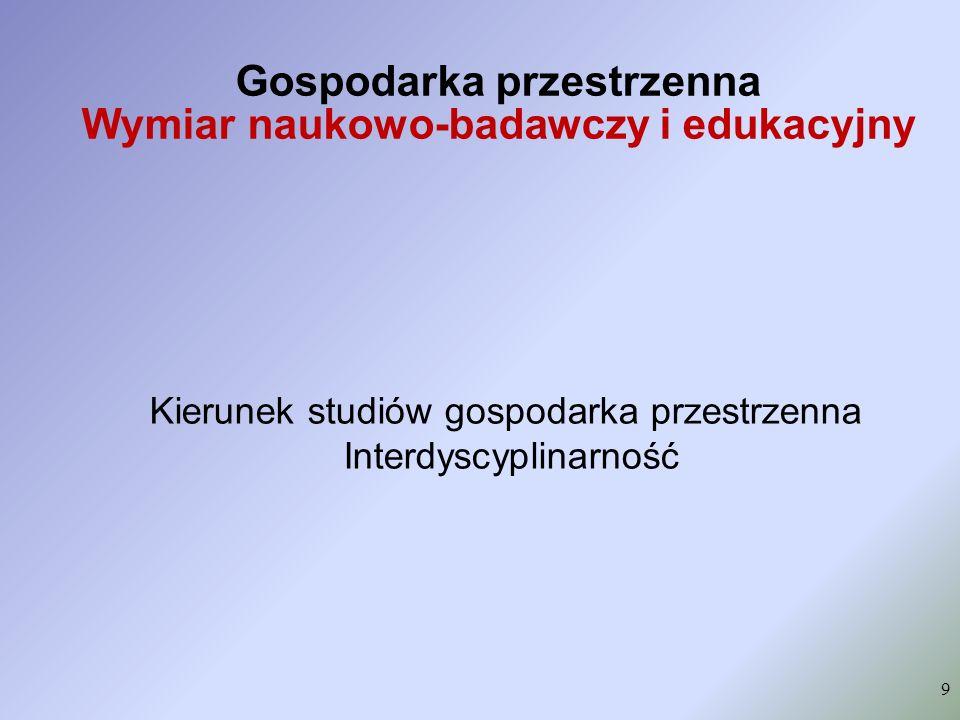 Gospodarka przestrzenna Wymiar naukowo-badawczy i edukacyjny 9 Kierunek studiów gospodarka przestrzenna Interdyscyplinarność