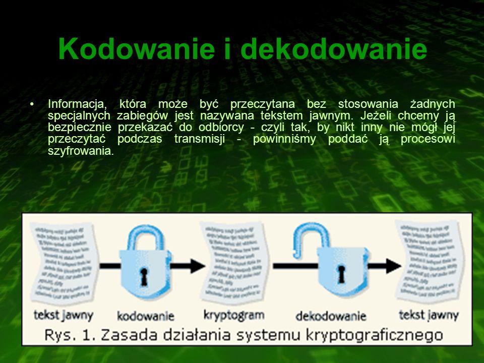 Kodowanie i dekodowanie Informacja, która może być przeczytana bez stosowania żadnych specjalnych zabiegów jest nazywana tekstem jawnym. Jeżeli chcemy