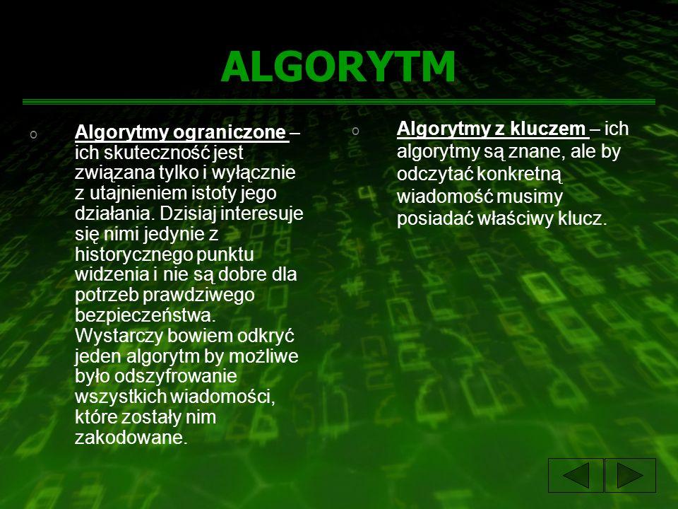 ALGORYTM o Algorytmy ograniczone – ich skuteczność jest związana tylko i wyłącznie z utajnieniem istoty jego działania. Dzisiaj interesuje się nimi je